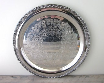 Vintage Large Round Silver Plate Tray Wm Rogers