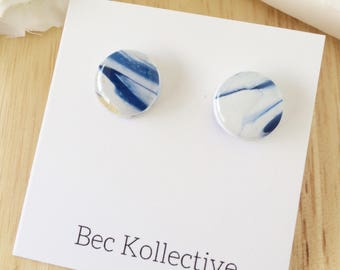 12mm | White and blue marble