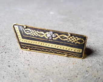 Vintage Damascene Toledo Ware from Spain Gold Tone Bar Pin