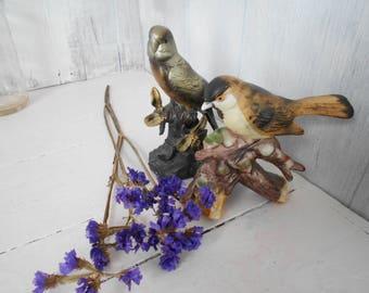 Birds Decor Ornament Figurine Bisque Sparrows Lefton Parakeet Hand Painted Vintage Figurine Nature Decor Mid Century Retro Bisque