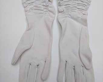 Vintage White Ruched Evening Gloves, Small Size, Wedding Gloves