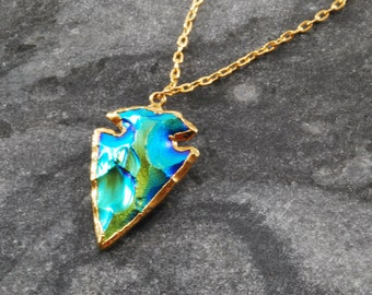 Titanium Electric Blue Arrowhead Necklace