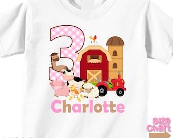 Personalized Barnyard Farm Animals Boy Girl Birthday Party T-shirt Bodysuit Kids Cow Horse Sheep Chickens Pig Tractor Shirt