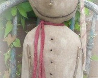 SNOWMAN epattern-NOT DoLL, Snowy Cane Man standing doll 136e Crows Roost Prims epattern  immediate download