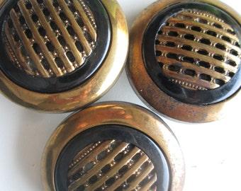 Dazzling black and gold vintage buttons. Large center patterned shank back. Lot of 3(Oct16)