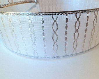 Wide white and silver ribbon with spirals