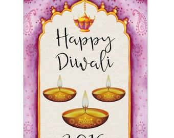 Diwali, Diwali Festival Of Lights Greeting Card, Watercolor Design Diwali Cards - (Pack of 10) - Lanterns and lights
