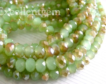 100 pcs Faceted crystal roundel, faceted rondelle beads, faceted glass beaads, Green crystal beads, faceted beads - 6x4mm