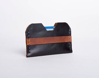 Leather Card Wallet | Black & Rustic Brown