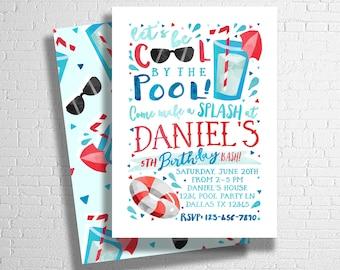 Pool Party Birthday Invitation | Boy's Birthday Pool Party |  Splish Splash | Pool Party Invitation | Summer Birthday | DIGITAL FILE ONLY