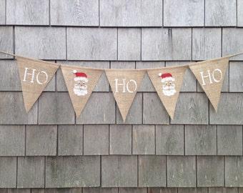 Christmas decor, Christmas Banner, Ho Ho Ho banner, Burlap Garland, Burlap Bunting, Holiday Banner, Santa Decor, Rustic Holiday Decor