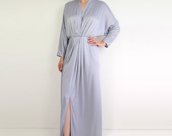 VINTAGE Silver Dress 1970s Maxi Dress Gown Small