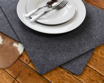 """Premium Modern  Felt Placemats. 17"""" x 13"""" Set of 2! 9mm Thick Felt. Protects Your Table.  Ships from USA. Table protector. Table cover."""