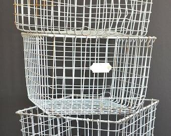 Vintage Wire Gym Locker Basket - home decor, display, storage and organization - Free US shipping