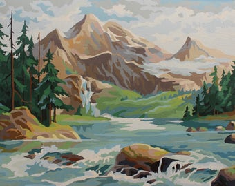 Paint by Number Poster: Mountain and Forest Stream