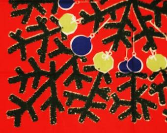 Rare unusual Swedish retro vintage 1950s printed larger cotton Christmas Norah (Johansson) design tabelcloth Christmas three motive