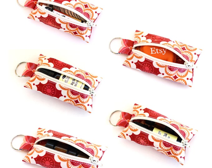 Keychain pouch for lip balm, essential oils, change, earbuds, and more!