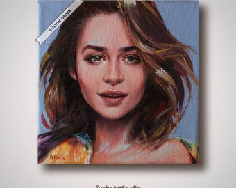 Small portrait from photo modern custom painting oil commission personalized pop art portrait