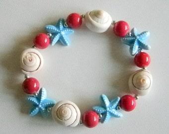 Red Ocean Blue Sea Shell Ceramic Glass Beaded Stretchy Bracelet