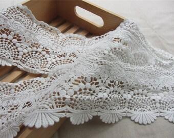 """4.72""""  Cotton Lace Trim , Crochet Lace Trim, Antique Lace Trim, white Cotton Lace,white lace trim"""