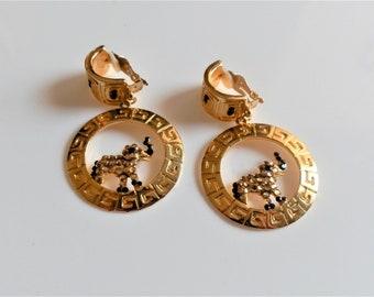 Rare Vintage Runway Gold Greek-Key Black/Champagne Crystal Earrings w/Elephant