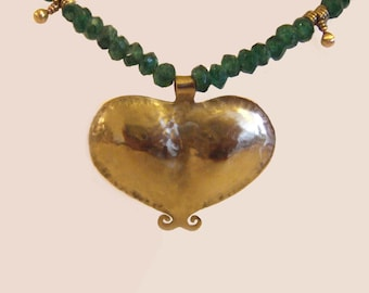 GOLD and GREEN Necklace,gold heart,love statement,Statement jewelry,Ethnic jewelry,green,Brass pendent,beaded necklace,original beads