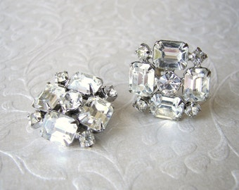 50s Emerald Cut Rhinestone Square Clip Earrings Vintage Costume Jewelry Accessory Prom Wedding Pageant Ballroom Accessories Elegant Bride