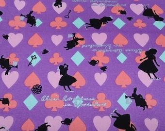 Alice in wonderland fabric purple  color Japanese fabric fat quarter