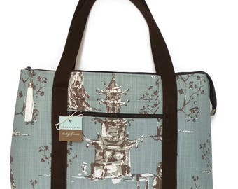 Tote Bag / Zipper top tote / Travel Bag / Gym Bag /  Diaper Bag /Handbag/ Shoulder Bag / Purse / Overnight Bag / Carry on Bag / Weekend Bag