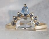 One of a Kind Rose Cut Diamond + Montana Sapphire Headdress Ring