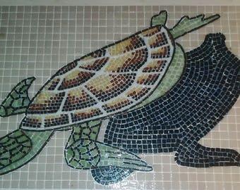Turtle mosaic glass for custom pool enamels