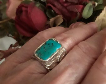 Sterling silver turquoise wide band ring, size 6