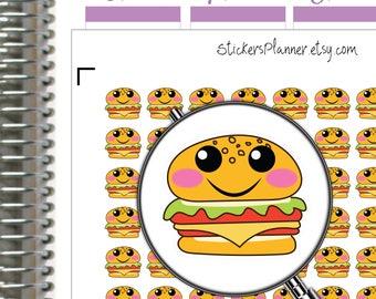 Hamburger Stickers Hamburger Planner Kawaii Stickers Kawaii Planner Stickers for Erin Condren Planner Happy Planner Fast Food Stickers i74A)
