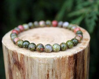 Unakite Bracelet, Green Bead Bracelet, Yoga Bead Bracelet, Gemstone Bracelet, Beaded Bracelet, Men's/Women's Bracelet, 6mm Bead Bracelet