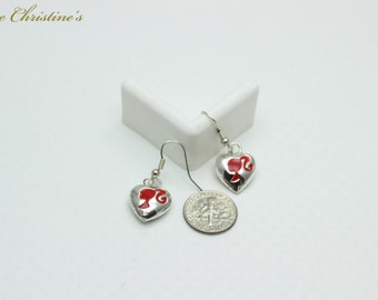 Lacey - silver plated dangle earrings, in full heart shape, featuring a red enamel Girl with a Ponytail. Each earring is 4 grams - TZE080194