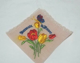 1940s Vintage Souvenir Soldier Handkerchief Souvenir de France, Hand Embroidery, World War II, Vintage Handkerchief, Vintage War Hankie