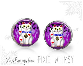 LUCKY CAT Earrings, Lucky Cat Earrings, Maneki Neko Cat Jewelry, Cat Stud Earrings, Cat Post Earrings, Stud Earrings, Cat Post Earrings