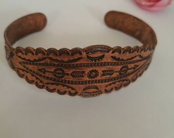 Copper Bracelet with Native American symbols 5.5 inches