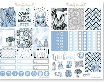 Dreamy Blue Weekly Planner Sticker Kit for use with ERIN CONDREN LIFEPLANNER™, Happy Planner, A5, Personal, Pocket, Travelers Notebook