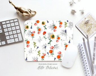 Spring Flower Mouse Pad Mousepad Floral Mouse Mat Floral Mouse Pad Office Mousemat Rectangular Mousemat Floral Print Mousepad Round FM14B