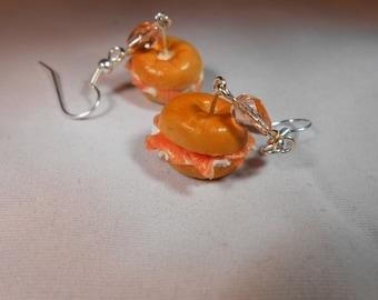 Salmon and Cream Cheese Bagel Earrings, Miniature Food Jewellery