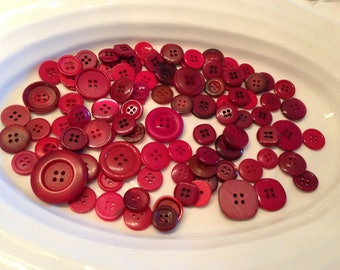 Four Hole Buttons - 100 assorted dark red 4 hole buttons