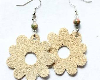 Earrings Leather Flower Mocha Beige