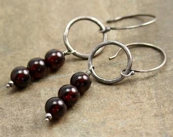 Persephone Earrings in Sterling Silver and Garnet