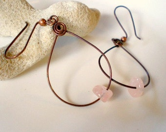 Rose Quartz Nuggets Earrings, Copper Teardrops Hoops with Copper Spiral Accents