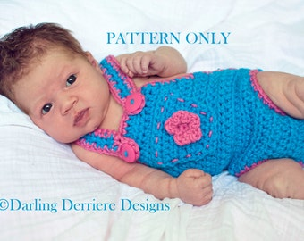 Instant Download PDF Baby Crochet Diaper Cover Overalls Pattern