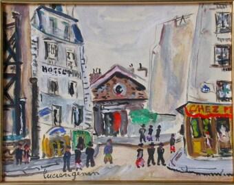 """LUCIEN GENIN (1894-1953). Gouache """"Saint-Pierre de Montmartre and the Place of the mound"""", Paris."""