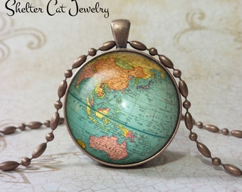 "Globe Necklace - 1-1/4"" Circle Pendant or Key Ring - Handmade Wearable Photo Art Jewelry -  Vintage Planet Earth World Map Art"