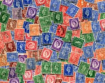 George VI & Queen Elizabeth Stamps Vintage / Rainbow Of Color