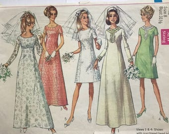 Vintage 60s Bridal Bridesmaid Dress Gown Simplicity Sewing Pattern 7538 Bust 31 1/2
